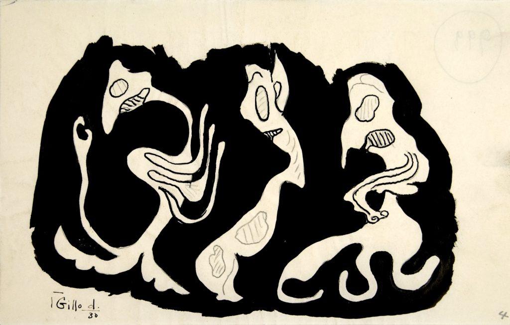 Gillo Dorfles, Senza titolo, 1952, monotipo e tecnica mista su carta, 57 x 47 cm