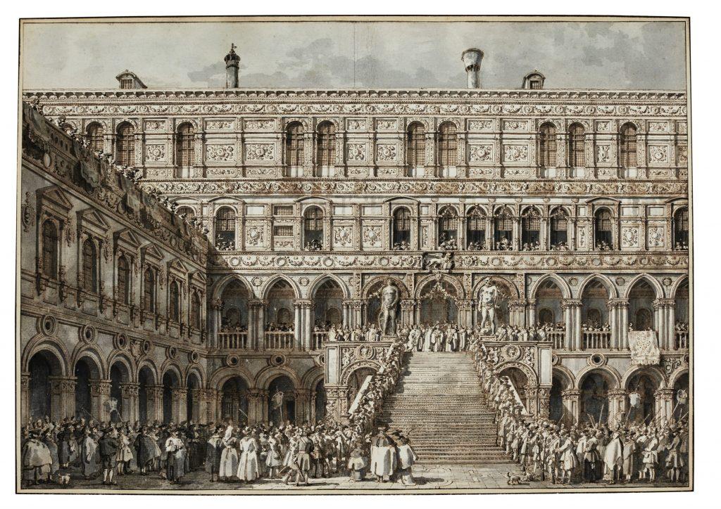 Canaletto (1697-1768) L'incoronazione del Doge sulla Scala dei Giganti di Palazzo Ducale, Venezia 1763-1766 penna, inchiostro bruno e acquerello grigio, con tocchi di biacca su gesso nero, mm 389 x 554 Courtesy of Jean-Luc Baroni Ltd