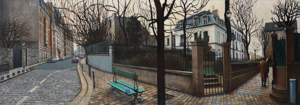 Sergio Ceccotti, Hiver à Montmartre, 1991. Olio su tela, 50 x 150 cm. (Collezione Valerio Ceccotti, Roma). Foto di Riccardo Ragazzi